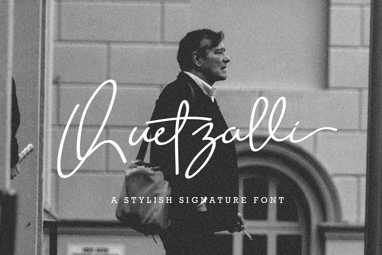 Quetzalli signature font example image 1