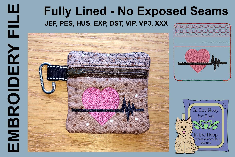 Heart Healthy Mini Zipper Bag / Fully Lined, 4X4 HOOP example image 1