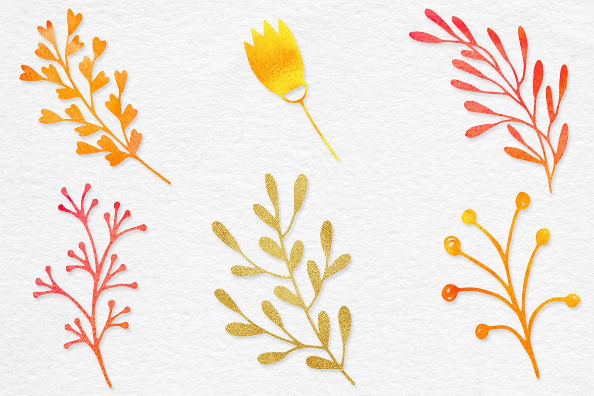 Watercolor & Gold Botanical Clipart example image 5