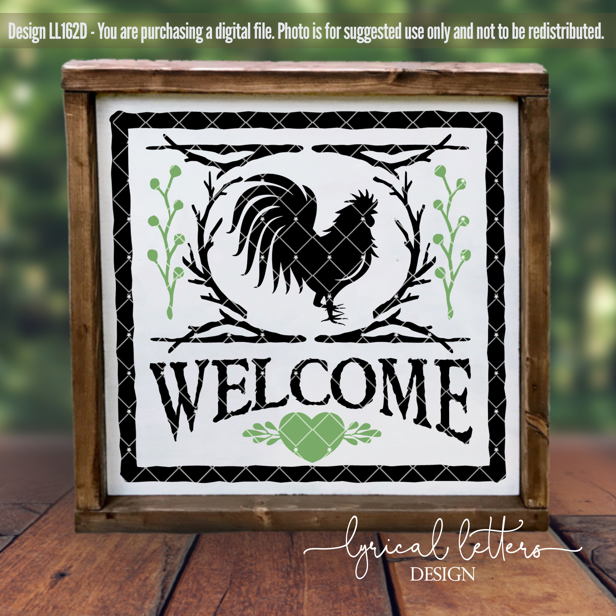 Welcome Rooster Farmhouse SVG Cut File LL162D example image 2