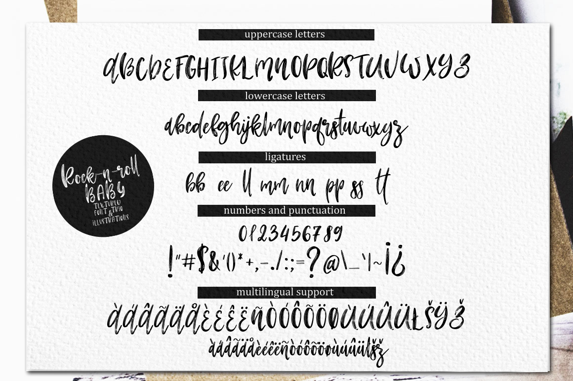Rock-n-Roll Baby.Textured font trio & doodles example image 16