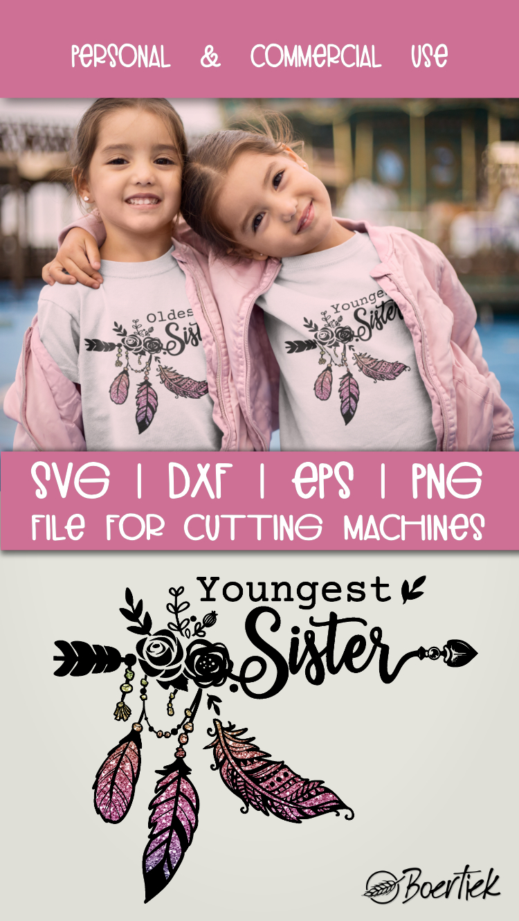 Youngest- and oldest sister, two SVG cutfiles example image 4