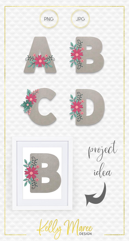 Canvas & Floral Alphabet Graphic Bundle example image 5