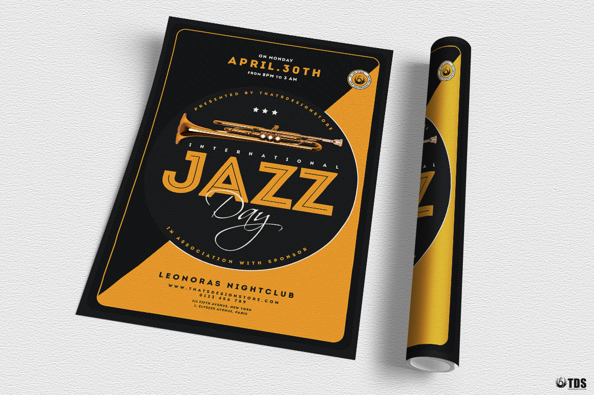 Jazz Day Flyer Template V3 example image 3