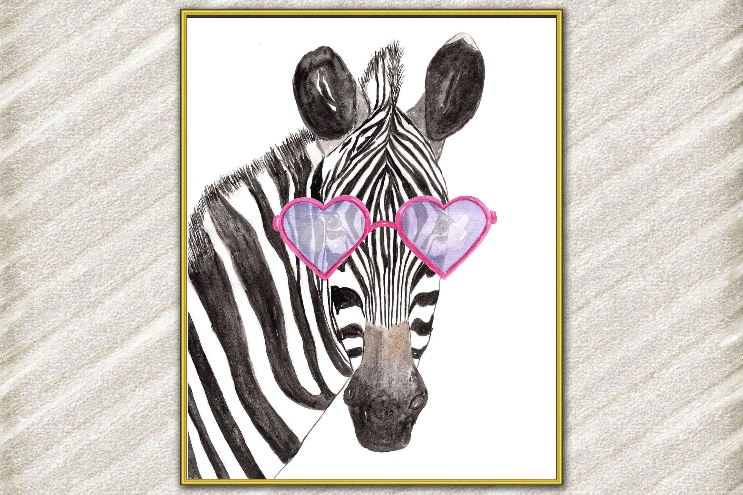 Funny Zebra Print, Watercolor Zebra,Animal with glasses example image 1