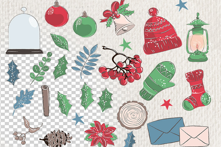 MERRY CHRISTMAS Color Clipart Illustration Set example image 3