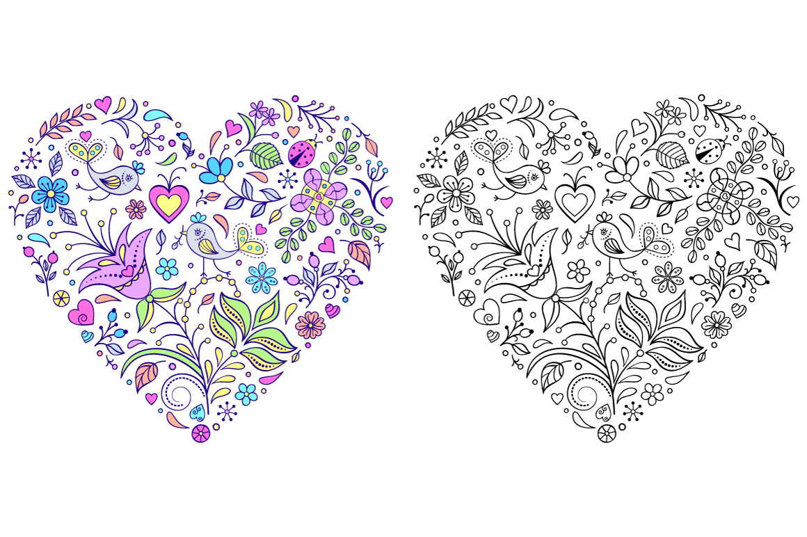 Floral Valentine's hearts example image 5