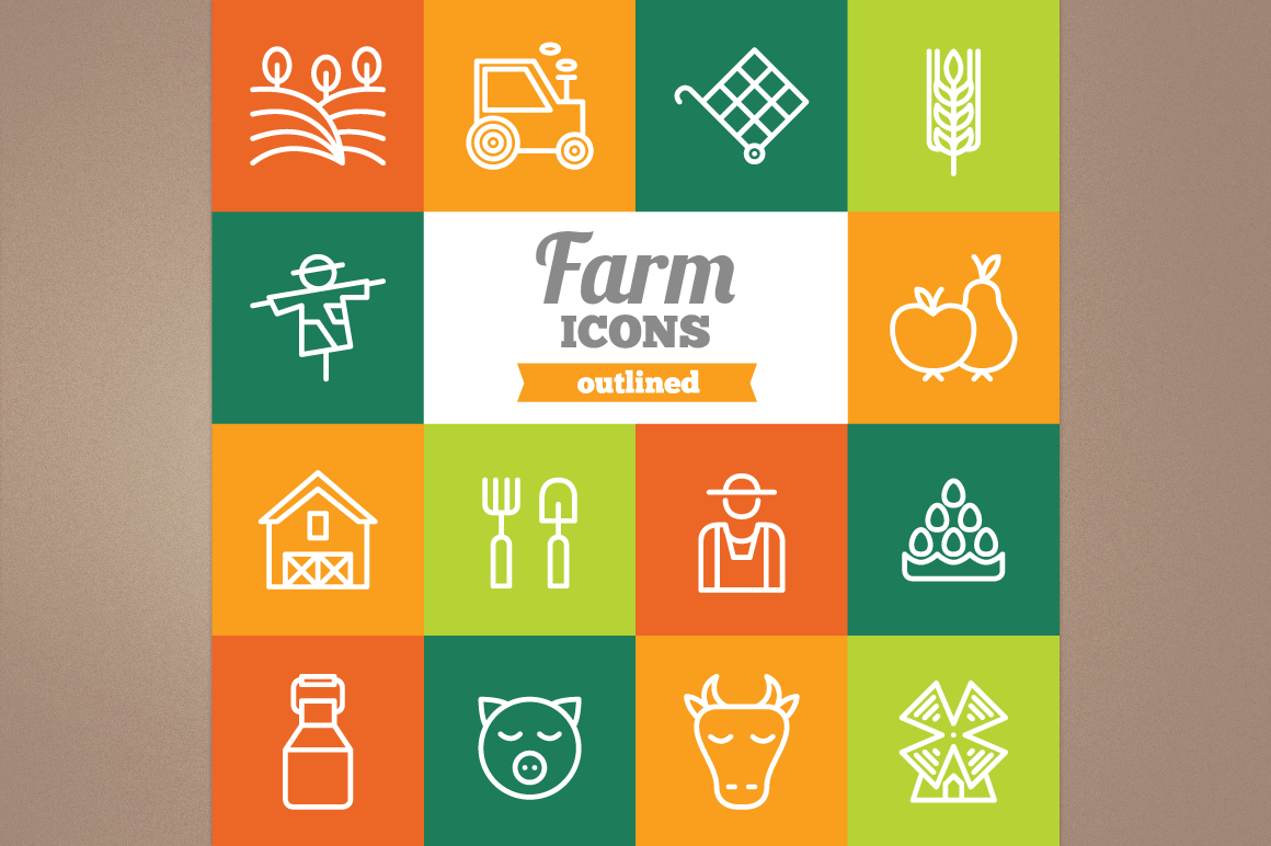 Outlined Farm Icons example image 1