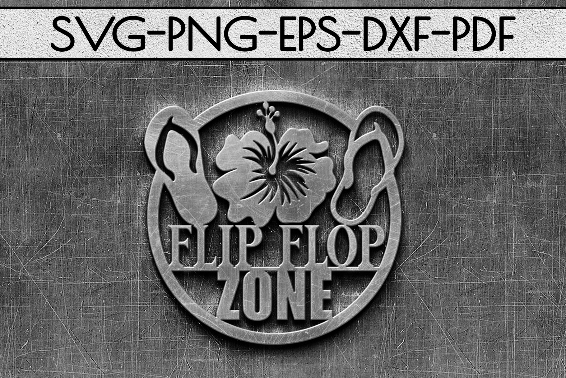 Flip Flop Zone Papercut Template, Beach House Decor SVG, DXF example image 2