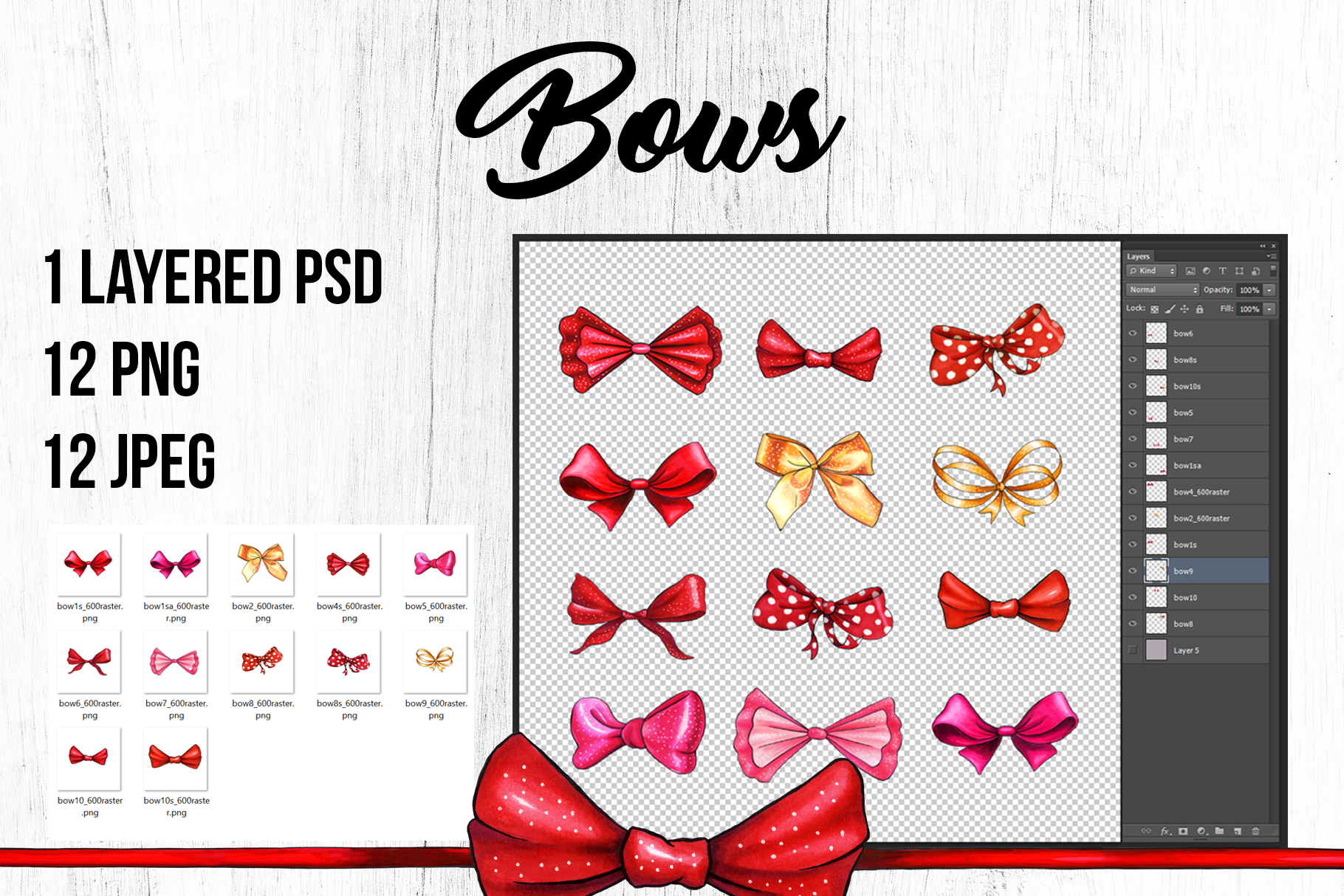 Bows and Ribbons Marker Clipart Collection example image 5