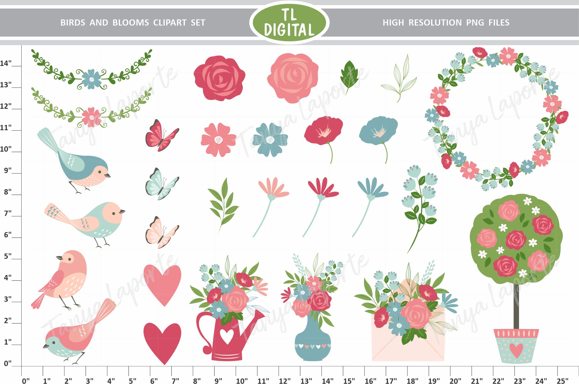 Birds and Bloom - Floral Love Clipart set - 29 Graphics example image 1