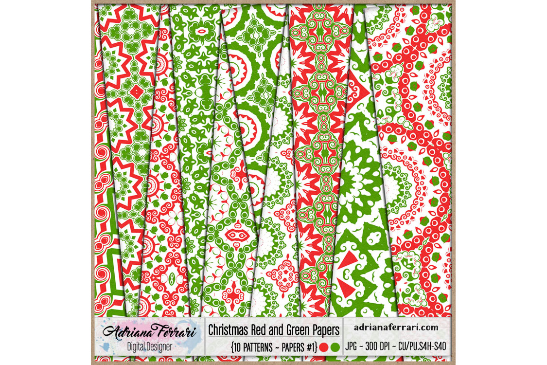 Christmas Red and Green Papers 1 example image 1
