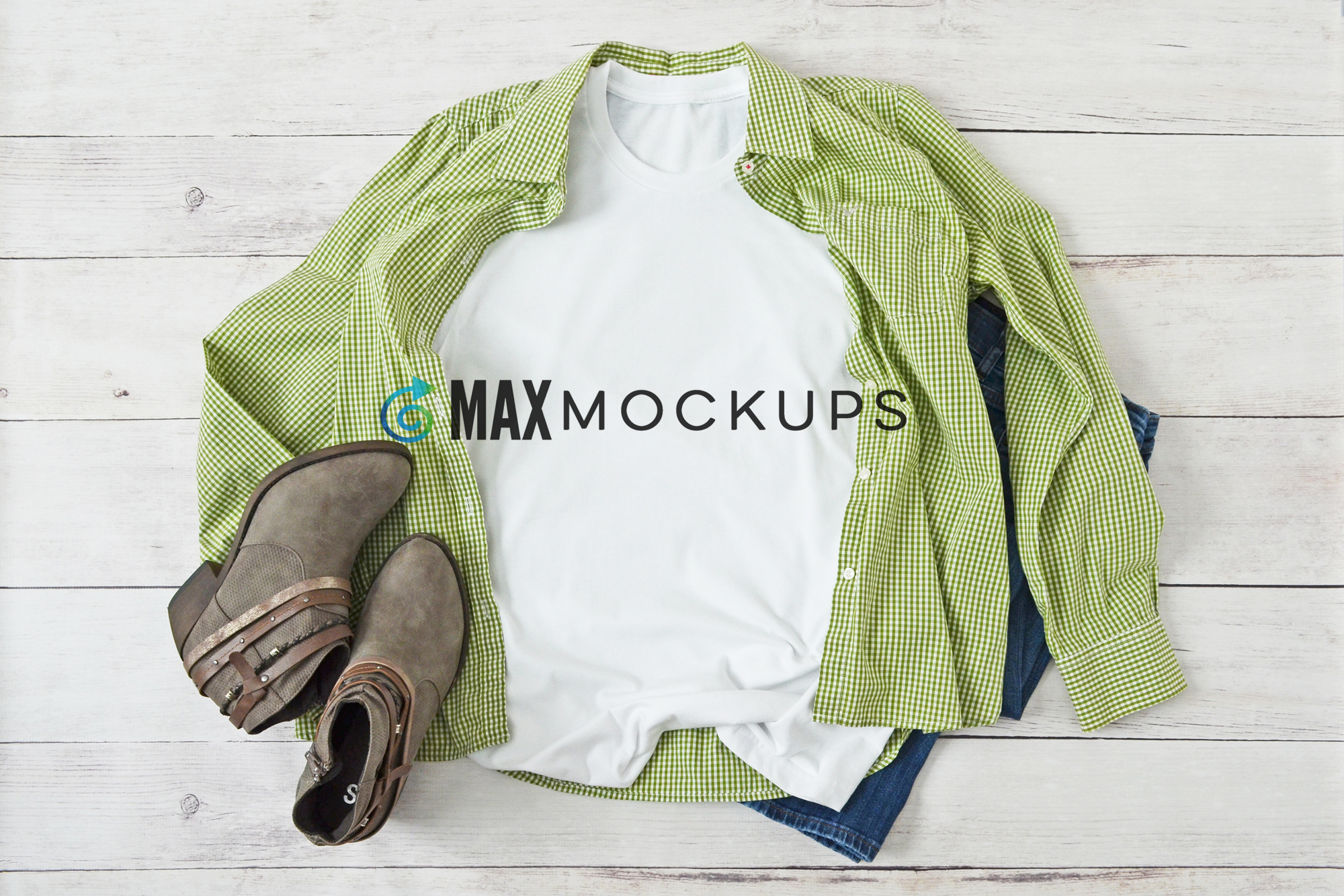 T-shirt mockup, plaid, boots, flatlay stock photography example image 1