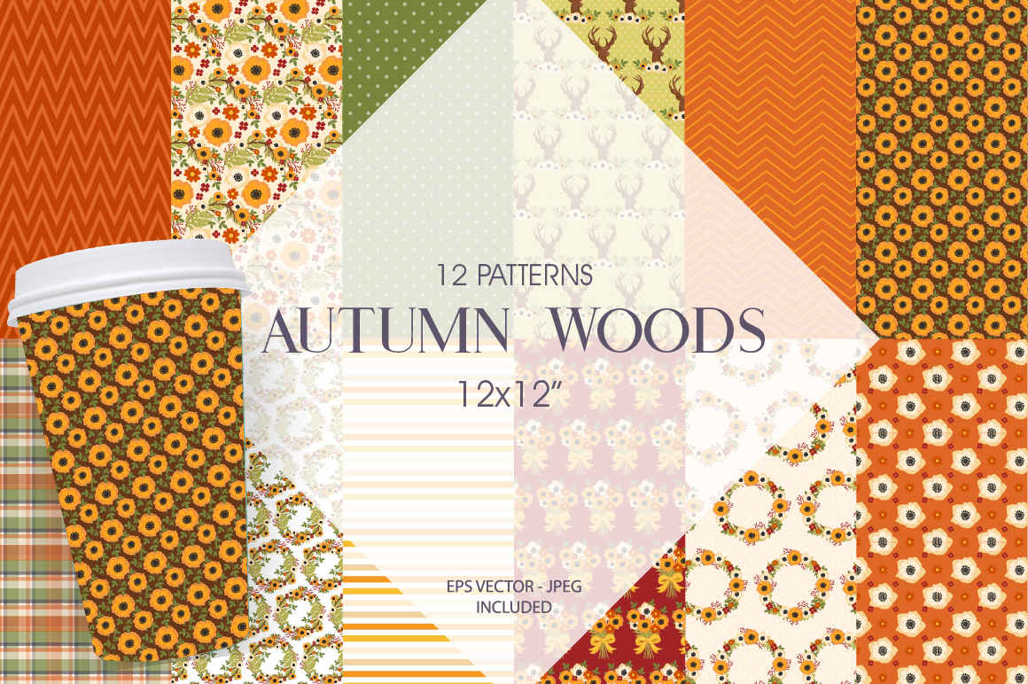 Autumn Woods Pattern collection, vector ai, example image 1