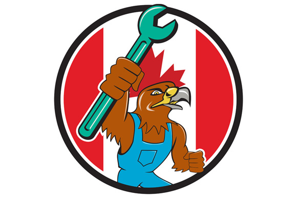 Hawk Mechanic Spanner Canada Flag Cartoon example image 1