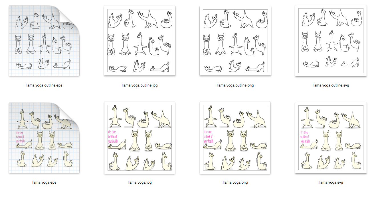 Llama Yoga 10 designs - Outline and Colored SVG-EPS-JPG-PNG example image 2