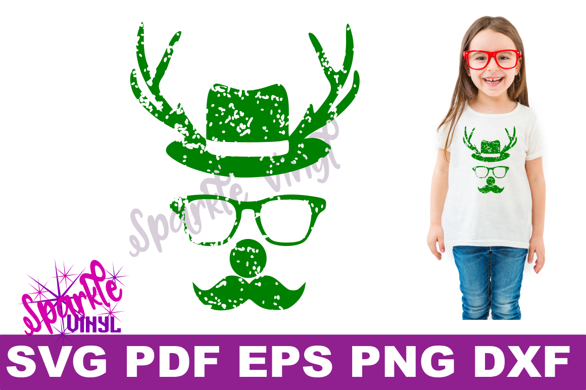 Svg Distressed Grunge Christmas vintage reindeer shirt svg files for cricut or silhouette, Reindeer with glasses red nose mustache hat svg printable example image 2