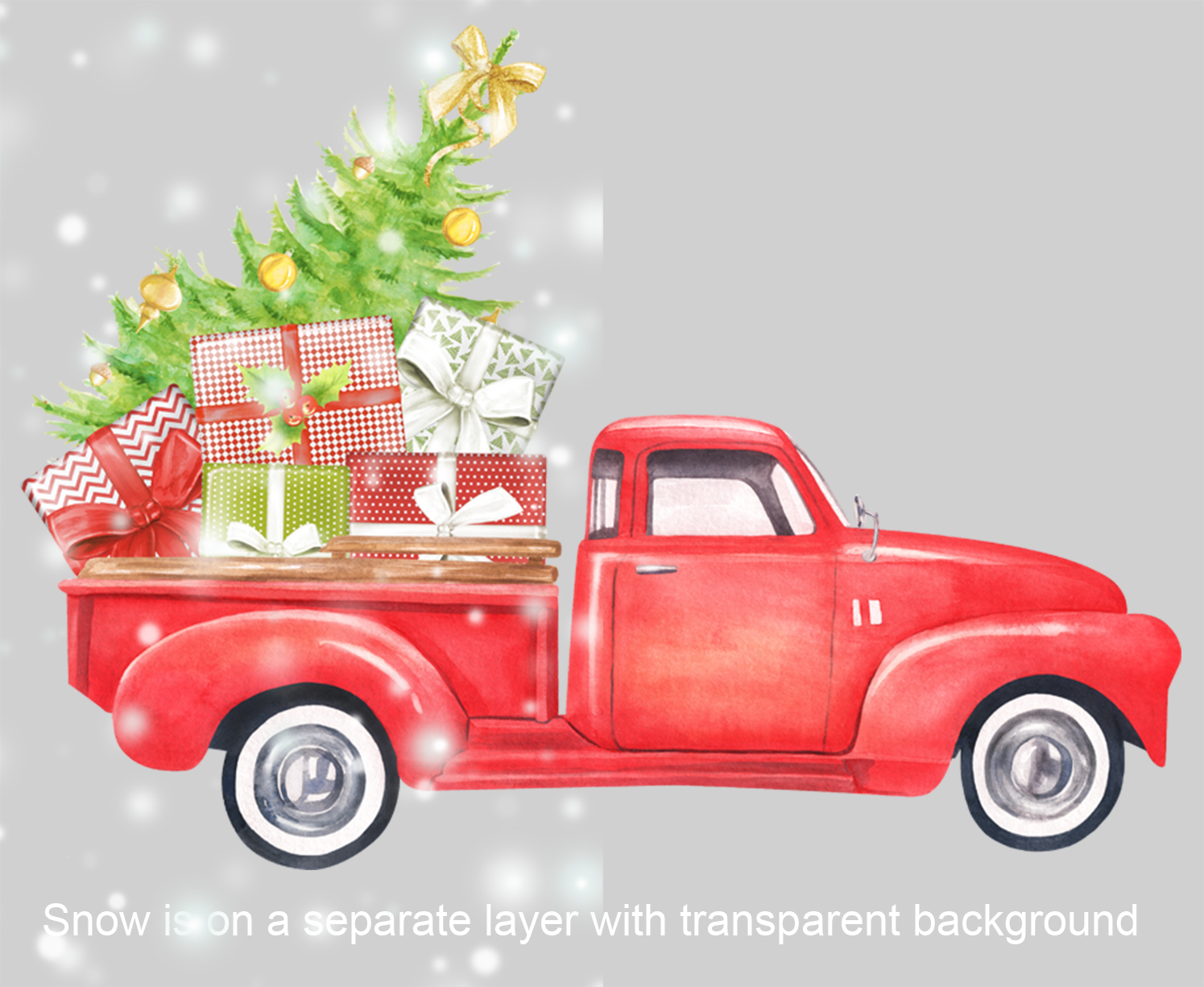Watercolor Christmas retro truck clipart example image 4