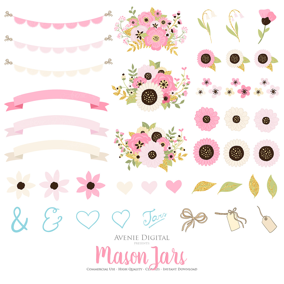 Pink and Gold Mason Jar Floral Wedding Clipart example image 3