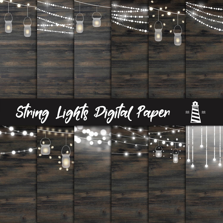 String Lights Digital Paper example image 2
