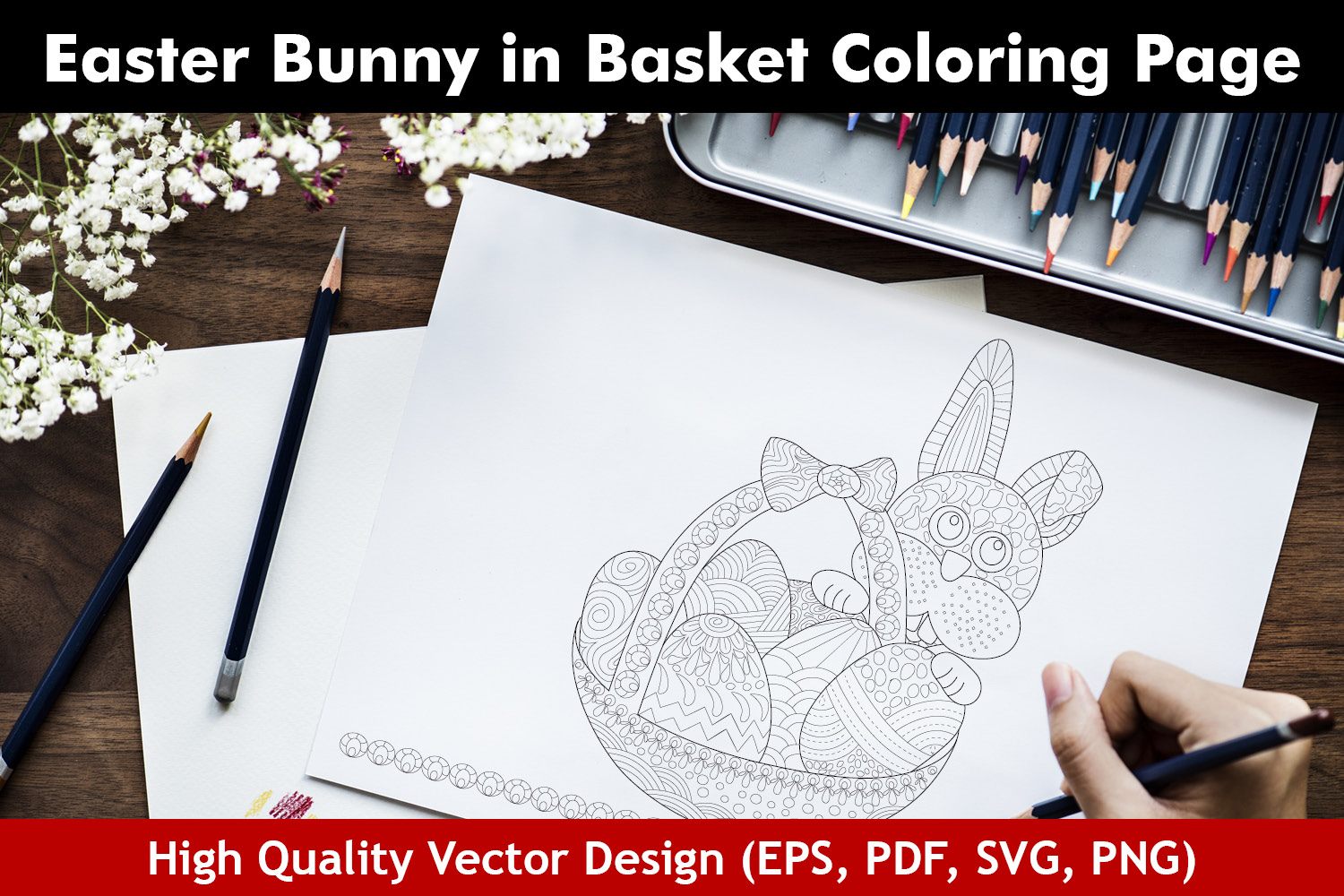 Easter Bunny in Basket Coloring Page example image 1
