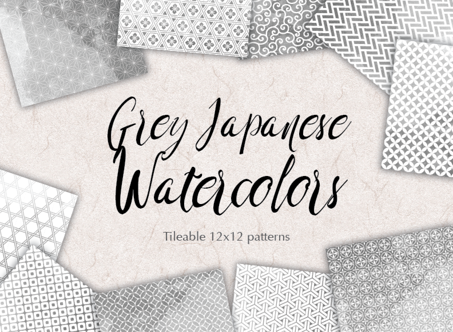 Grey Digital Paper Japanese Watercolor Background Patterns Gray example image 2