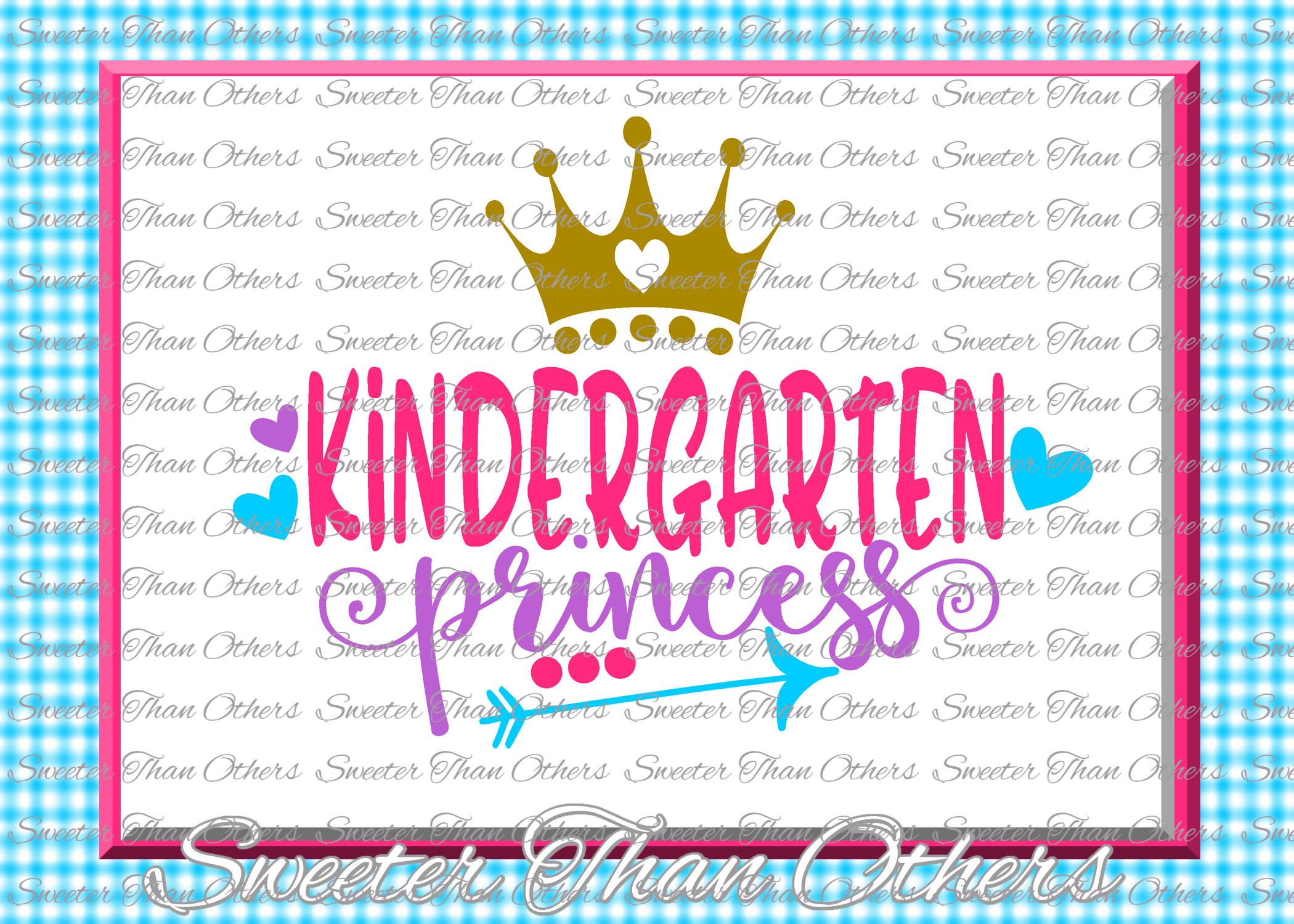Kindergarten Princess SVG Kinder Grade cut file First Day of example image 1