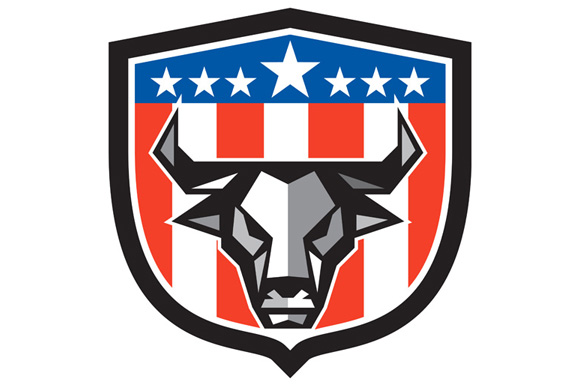Bull Cow Head USA Flag Crest Low Polygon example image 1
