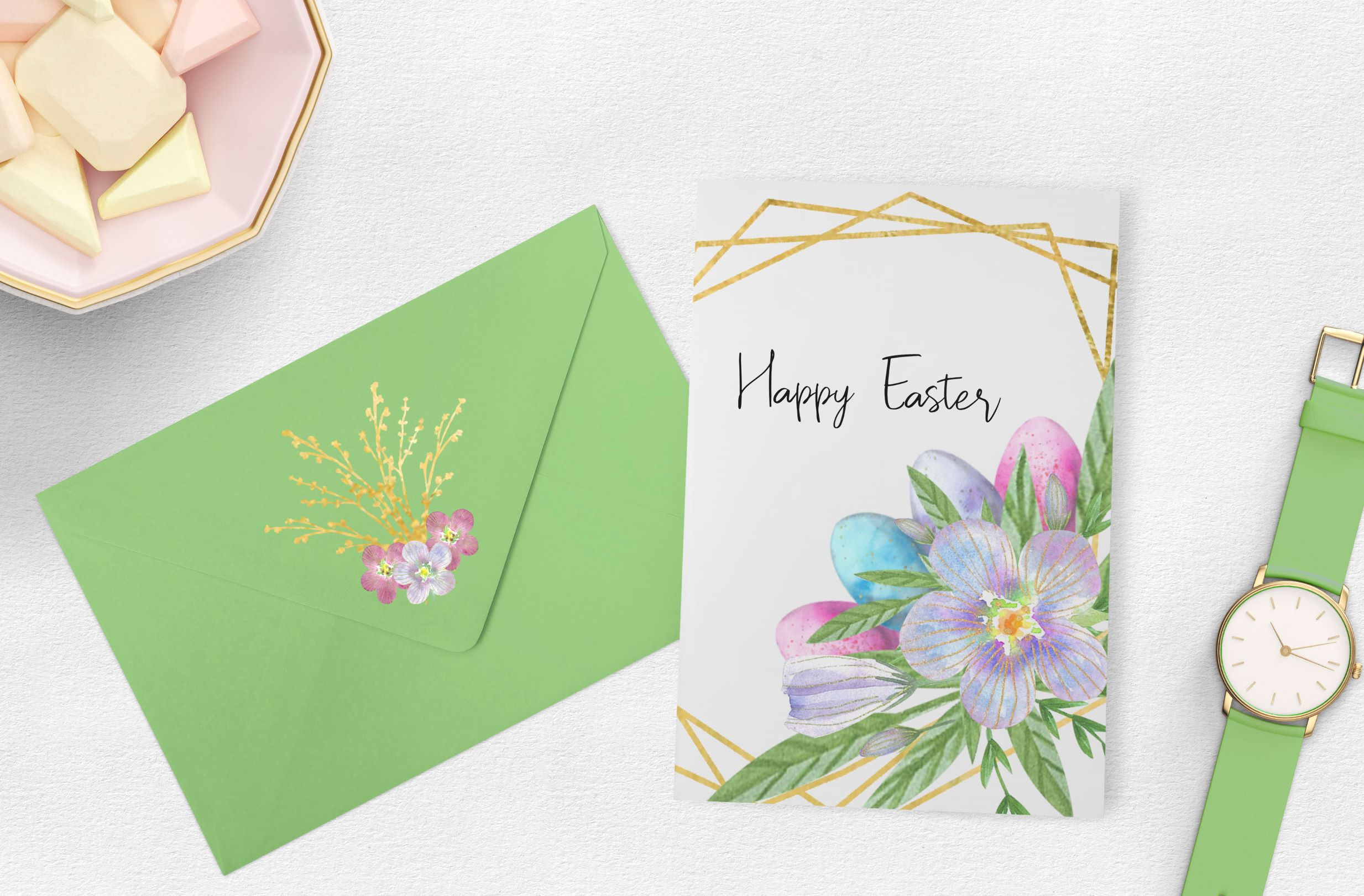 Easter Eggs . Watercolor clip-art collection. example image 2