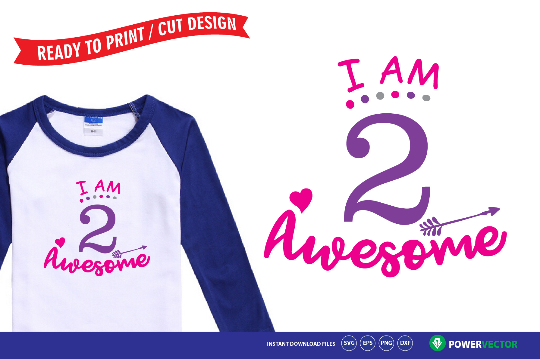 Second Birthday Svg, I am 2 Awesome Shirt Design SVG example image 1
