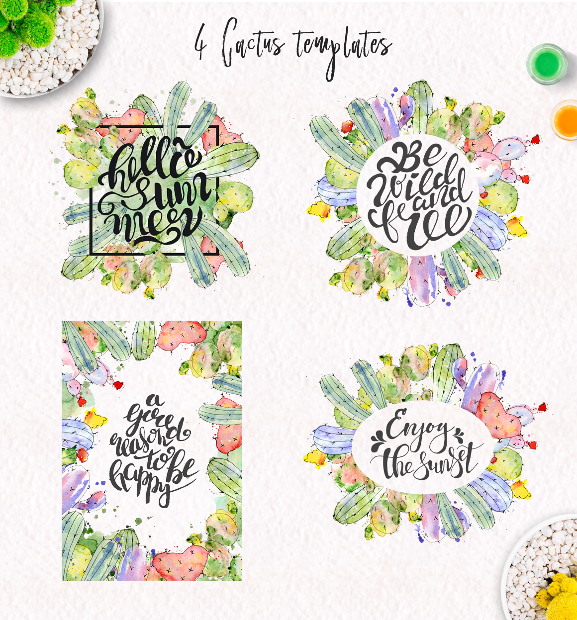 Boho Watercolor abstract Cactus Tropical clipart example image 5