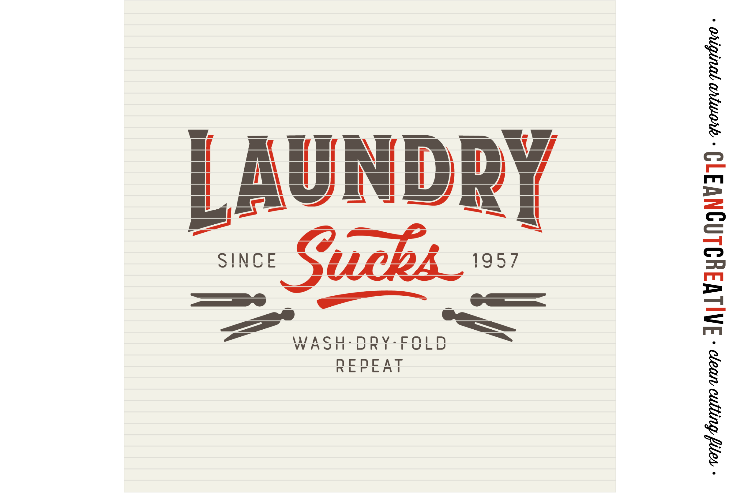Laundry Sucks :) - SVG DXF EPS PNG - Cricut & Silhouette - clean cutting files example image 2