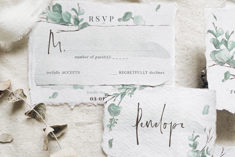Watercolor Eucalyptus Wedding Suite example image 5