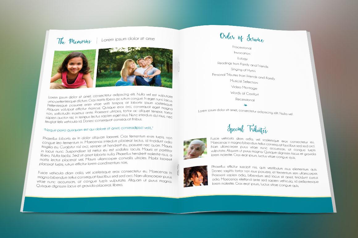Memories Bi-Fold Funeral Program Template example image 2
