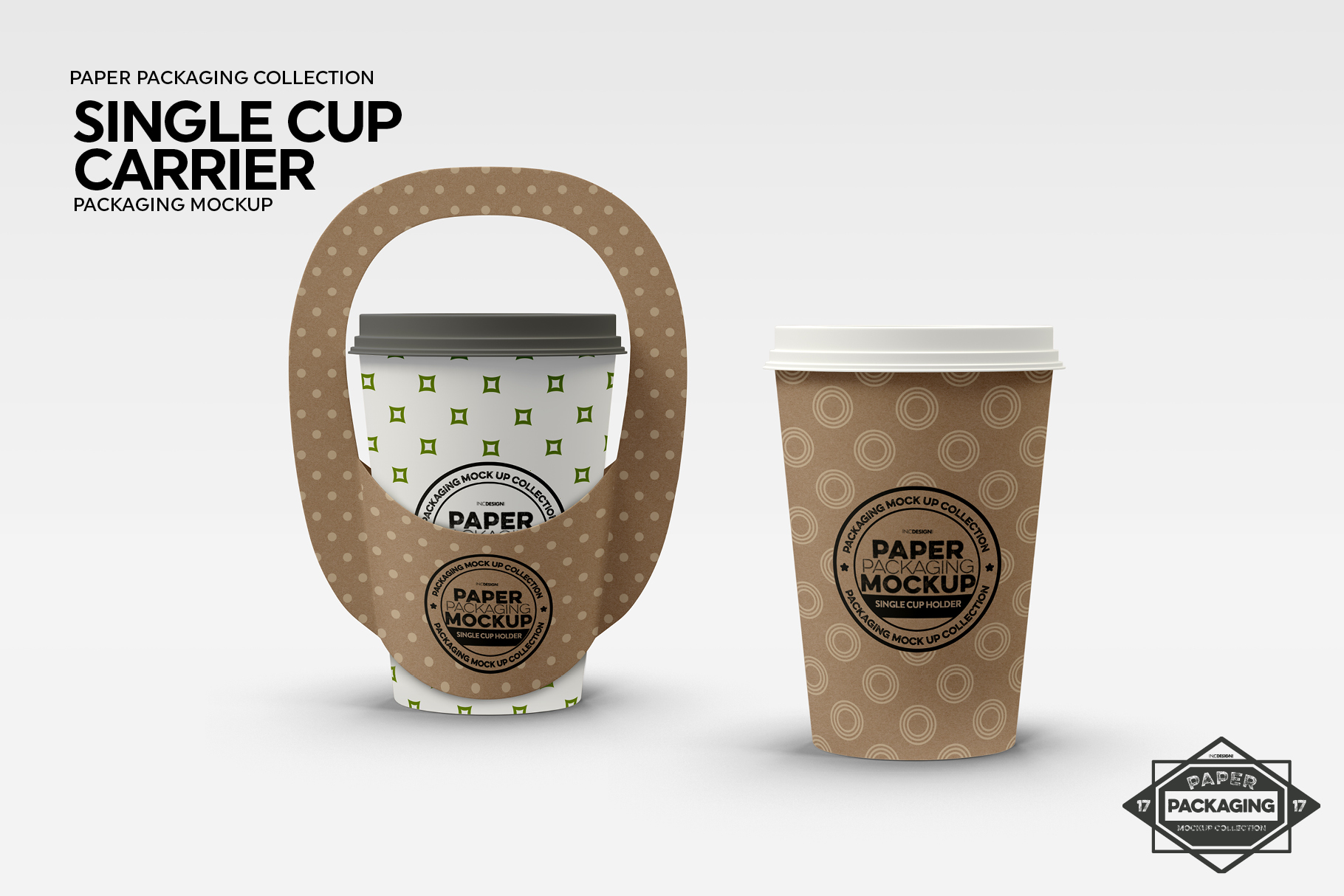 Single Cup Paper Carrier Packaging Mockup example image 5