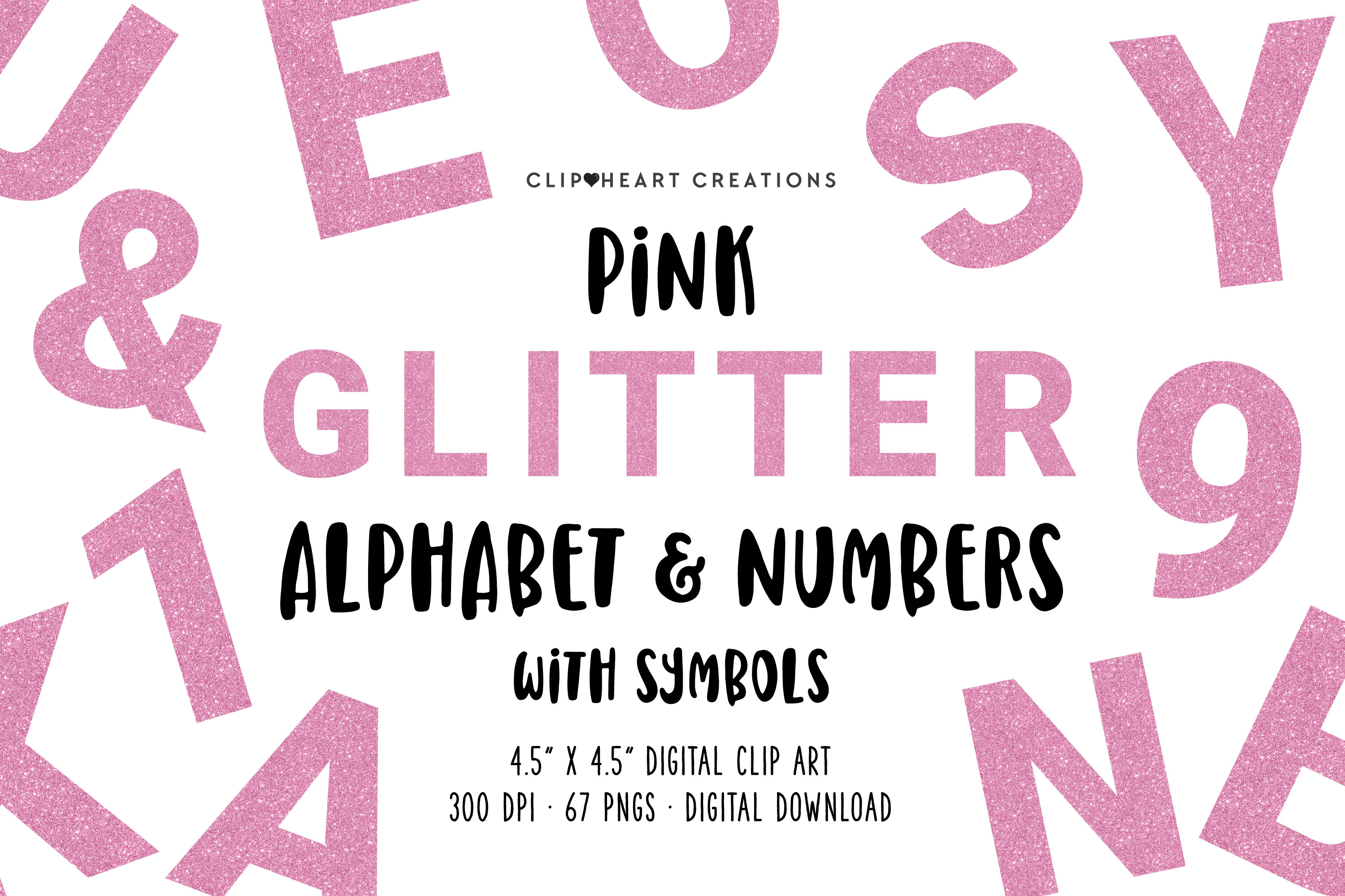 Pink Glitter Alphabet & Numbers with Symbols example image 1