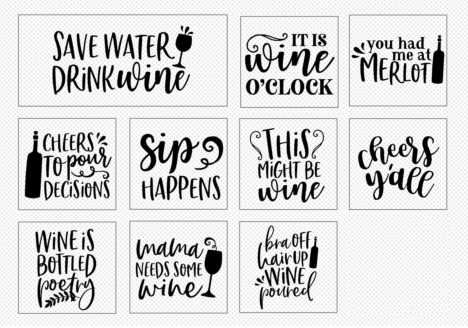 Wine Lover's Quote SVG Cut File Bundle example image 4