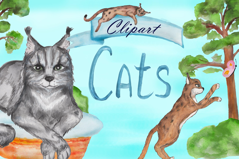 Grumpy cat clipart, savannah cat, lynx clipart, Maine coon example image 1
