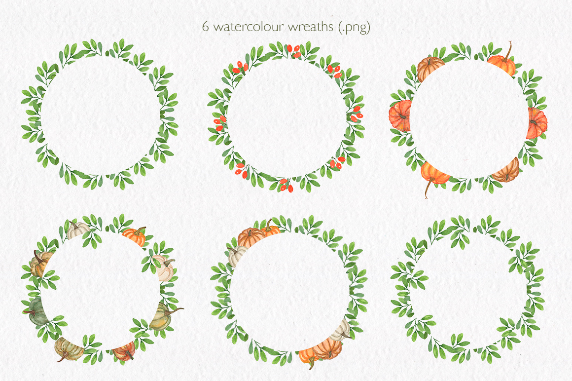 Pumpkin collection. Watercolor clipart. example image 11