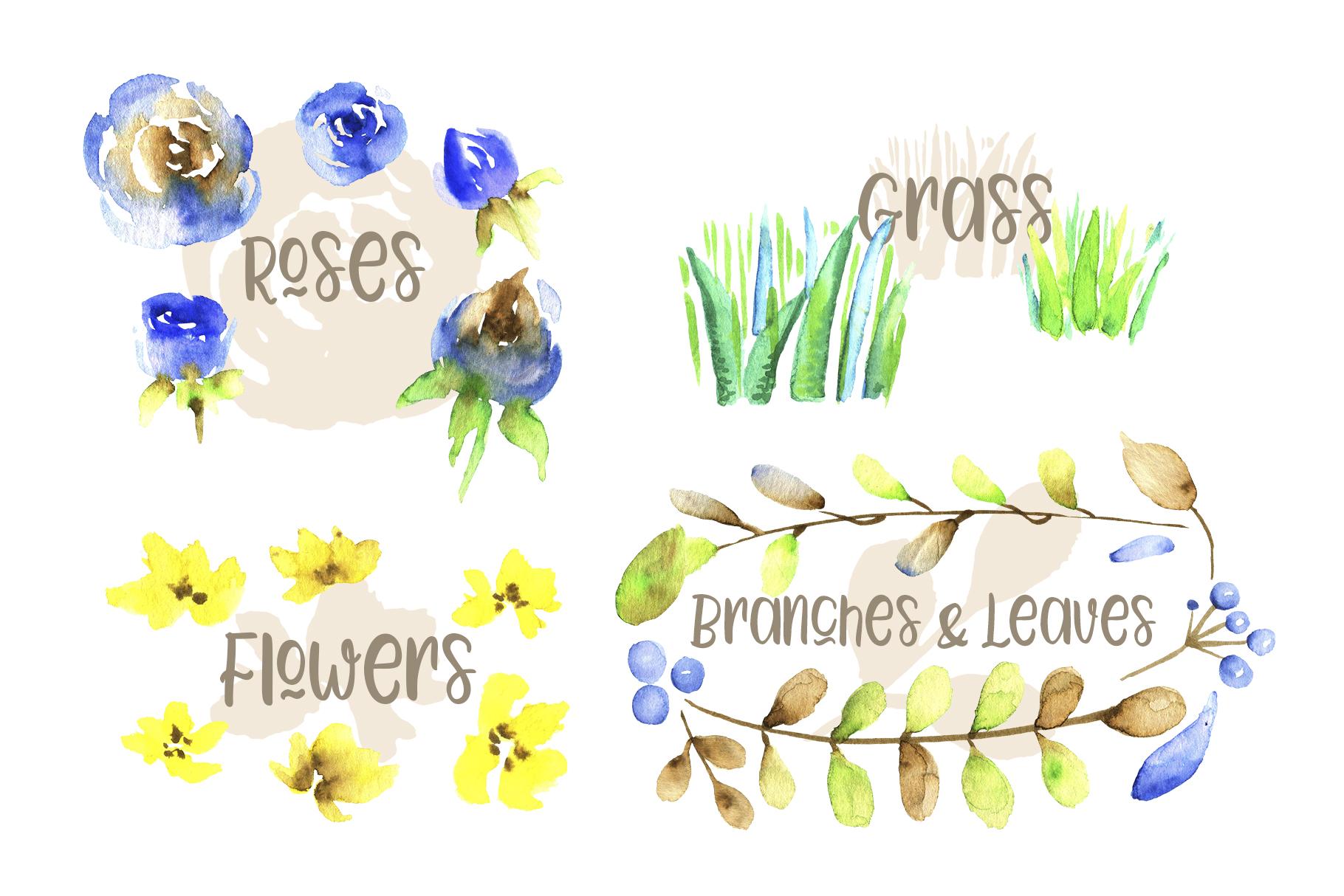 Watercolor Farm Birds and Plants Set example image 4