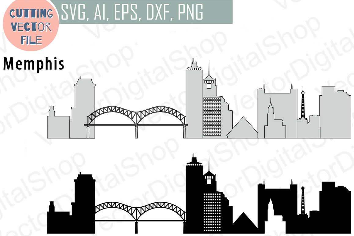 Memphis Vector, Tennessee Skyline USA city, SVG, JPG, PNG, DWG, CDR, EPS, AI example image 1