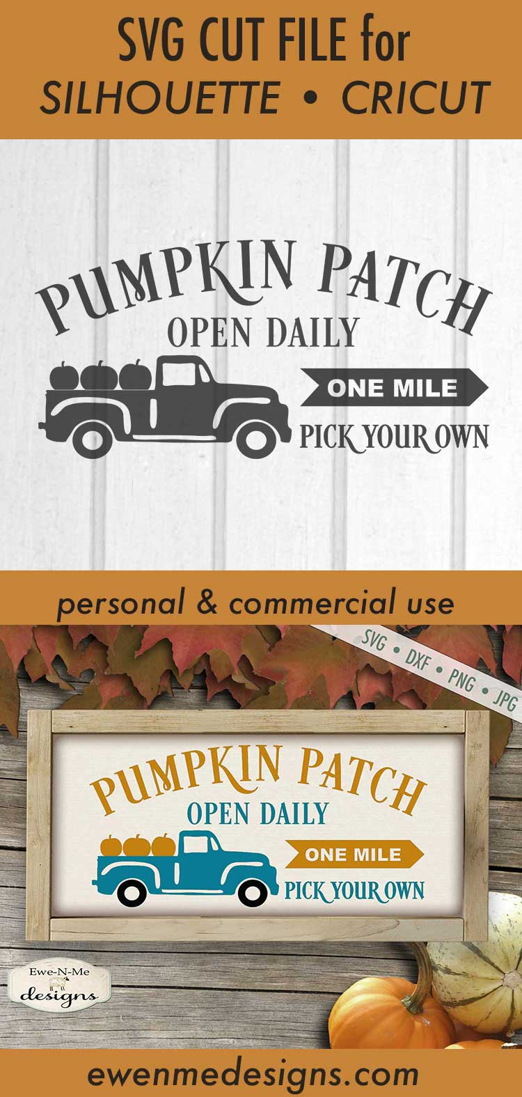 Pumpkin Patch - Truck - Fall - Autumn - SVG DXF example image 3