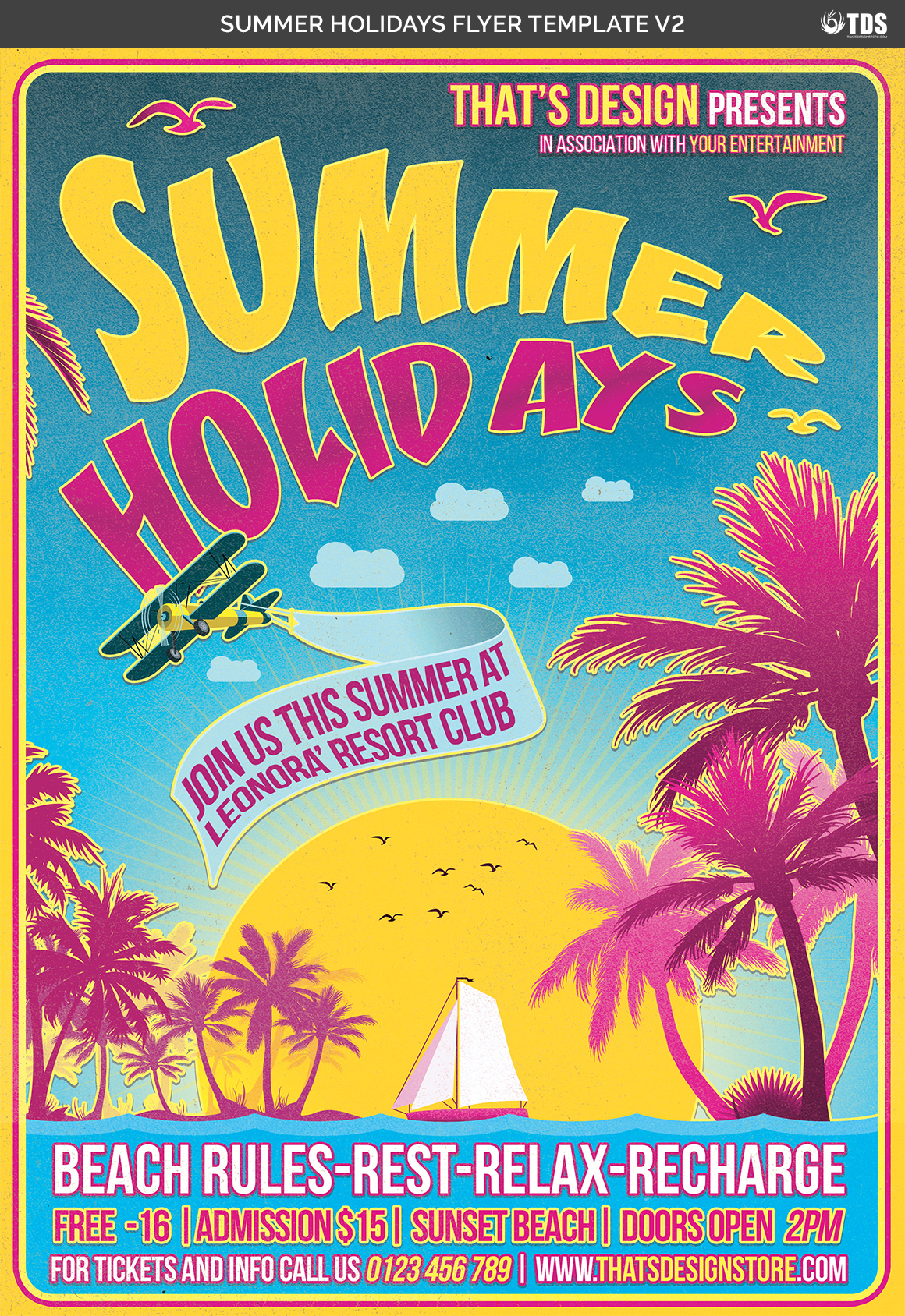 Summer Holidays Flyer Template V2 example image 7