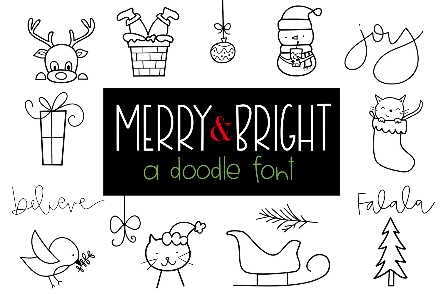 Merry and Bright - A Christmas / Winter Doodles Font example image 1