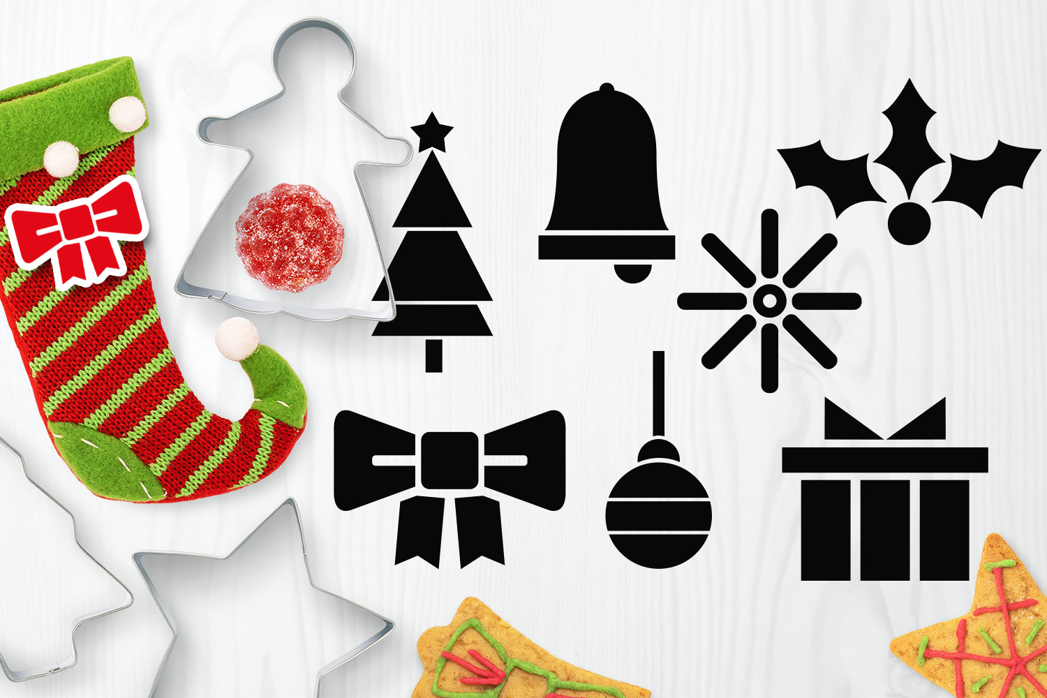 Bundle - Christmas ornaments and Gingerbread Graphics example image 10