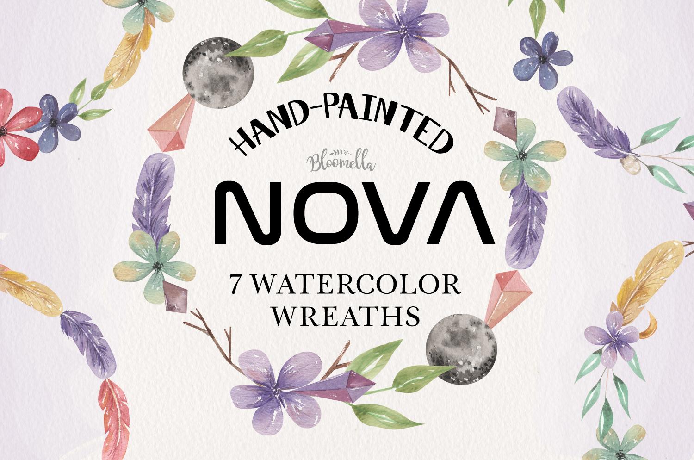 Nova 7 Wreaths Watercolor Flowers Moon Crystals Gems Florals example image 1