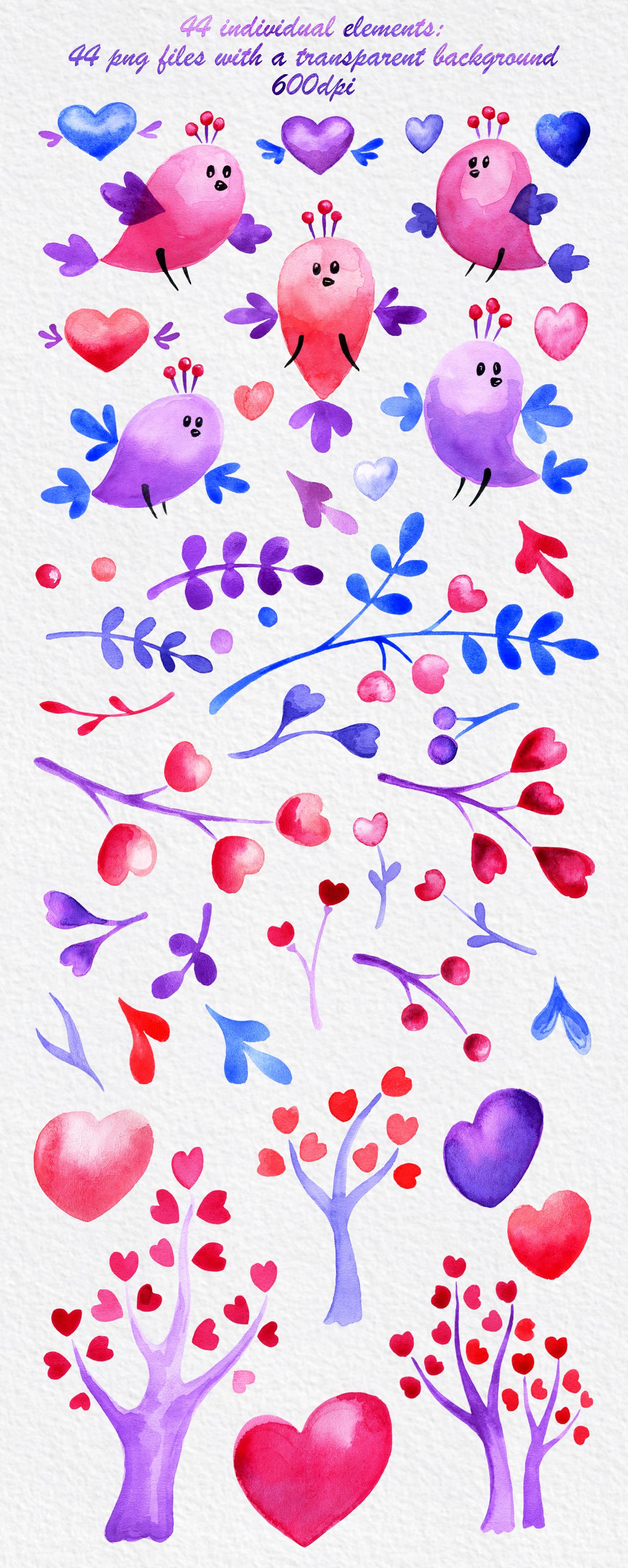Valentine birds. Watercolor set. example image 2
