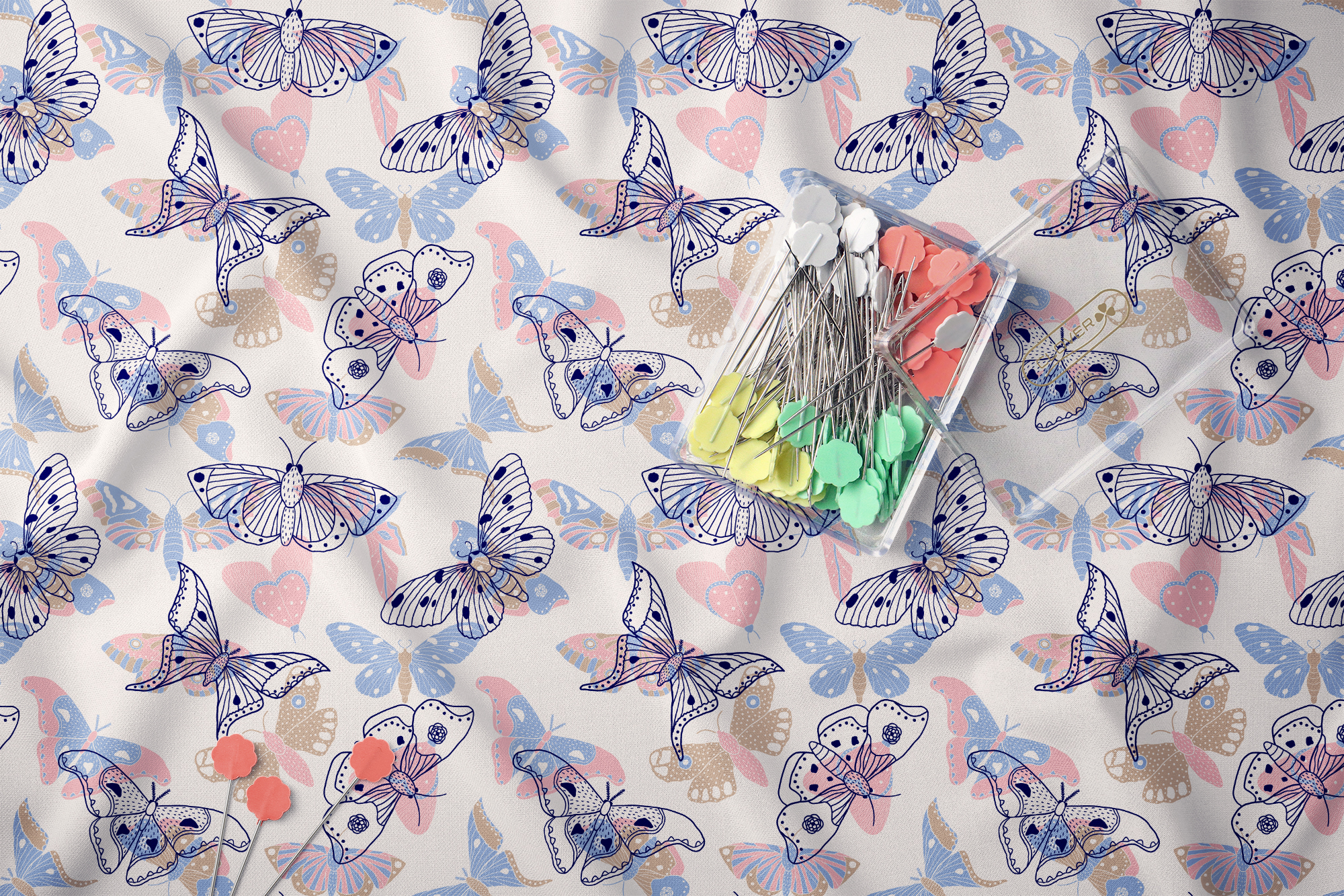 Moths and butterflies. Vector patterns. example image 9