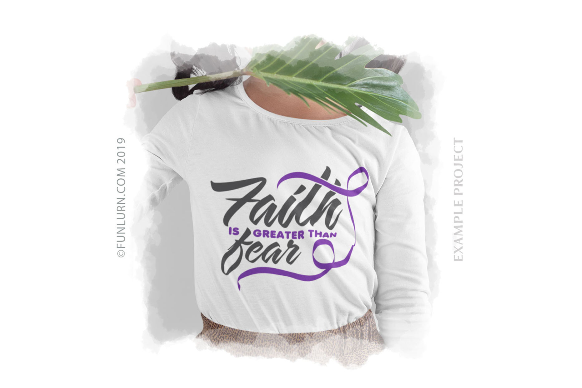 Faith is Greater Than Fear Purple Ribbon SVG Cut File example image 3