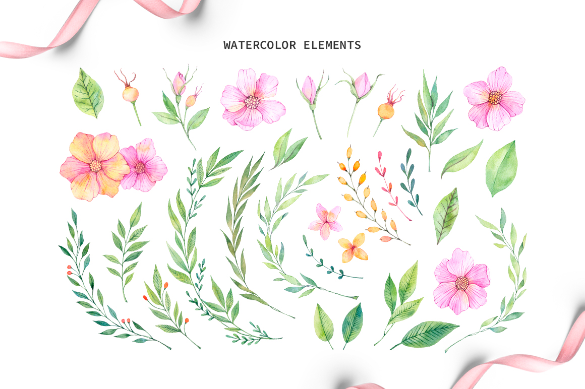 Watercolor spring set example image 2